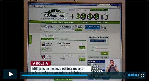 Boleia.net nas notícias da RTP 1